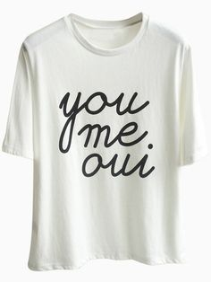 White T-shirt With English Letters Print