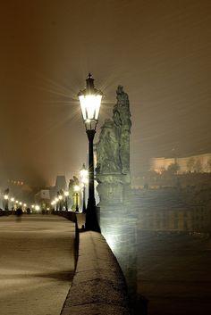 "bluepueblo: "" Foggy Night, Prague, Czech Republic photo via ossay """