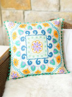 Embroidered Spring Taj Square Pillow. | Earthbound Trading Co.