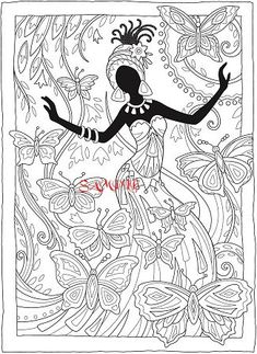 Creative Haven African Glamour Coloring Book by: Marjorie Sarnat, Cia Slater Welcome to Dover Publications Coloring Page 2 Coloring Book Pages, Printable Coloring Pages, Printable Art, Printables, African Art Paintings, Leda Muir, African American Art, Fabric Painting, Colorful Pictures
