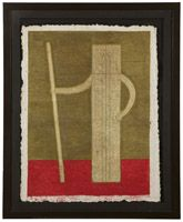 Lot# 1204 Rufino Tamayo (1899-1991 Mexican) 'Hombre con Baston (Man with Cane)'', color Mixographia on handmade paper under glass, paper size: 36'' H x 28.5'' W, est: $3000/5000 *Price Realized: $6,125.00