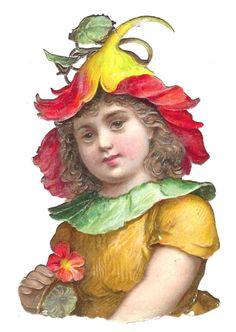 Victorian Die Cut scraps FLOWER FAIRY girl orange scrapbook art craft rich color