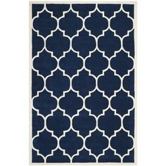 Safavieh Handmade Moroccan Chatham Dark Blue Wool Rug (5' x 8') | Overstock.com Shopping - The Best Deals on 5x8 - 6x9 Rugs