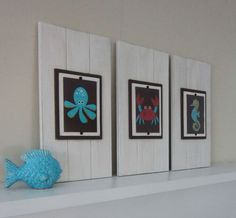 Set of 3 Long White Plank Frames with 5x7 Sea by ProjectCottage