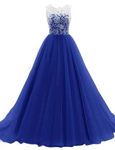 LovingDress Women's Prom Dresses Scoop A Line Tulle & Lace Floor Length Dress