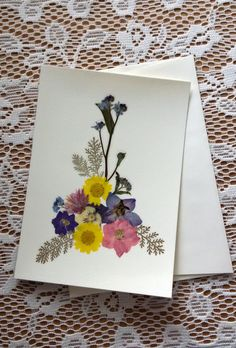HANDMADE GREETING CARD  Pressed Flowers Unique by MyHumbleJumble