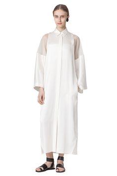 Ivory silk dress with transparent sleeves   Nehera.com
