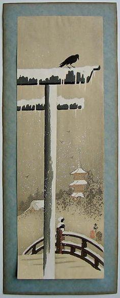 Shoson Ohara: Snow Covered Torii - Japanese Art Open Database
