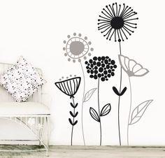 Beautiful Wall Flower Decal For Living Room, Dining Room or Office, Nature Flower Vinyl -Giardino Diy Room Decor, Bedroom Decor, Wall Decor, Home Decor, Bedroom Murals, Wall Murals, Mural Floral, Flower Wall Decals, Inspiration Wall