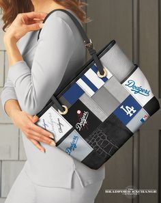 Sport your love for the Los Angeles Dodgers in style with this fashion patchwork-style tote bag. This MLB-licensed tote showcases the official team colors and logos across faux leather and poly-twill patches for a designer look that's a sure home run every time. Take it out to the ball game or anywhere you go!