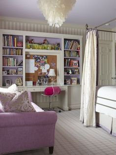 Girl's room. Love the ceiling and accent purple and the chandelier. Couch is a great idea too. Valspar's Foggy Mirror is similar to the door and trim color. Try Valspar's Lovely Lilac for a similar purple.