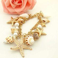 Женская девушки лето пляж довольно морская звезда раковину жемчуг шарм браслет