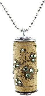 cork pendant / necklace embellished with rhinestones. #winecorkcrafts