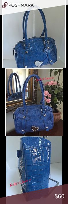 JUST ARRIVED!! This is the cutest bag!!! GUESS BAG Oceanfront Blue Embossed Croc Satchel With Rhinestone Heart. Zebra print interior lining. This is sooooo cute! Bags Satchels