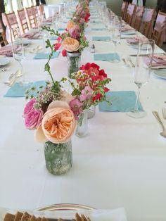 テーブル装花 造花をまぜて
