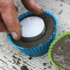 How To Make Concrete Tea Light Holders Concrete Garden Projects | DIY Garden Decor Books Love the durability of these mini-garden tea lights.