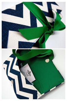 Navy Chevron Stripe with Emerald Ribbon Clutch - skip the ribbon though, imagine having to tie that every time you wanted something from your purse?
