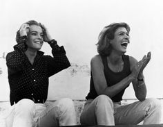 """"""" Romy Schneider & Melina Mercouri on the set of P. Romy Schneider, Magda Schneider, Luchino Visconti, Greek Tragedy, Greek Beauty, French Actress, Queen Of Hearts, Cannes Film Festival, Friends"""