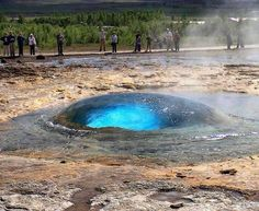 Strokkur fountain geyser just before the eruption, Iceland. It erupts every 4 - 8 minutes!