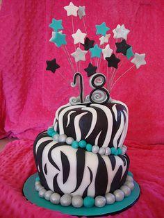 ZEBRA PRINT 18TH BIRTHDAY CAKE by Soad - A - Mae's, via Flickr