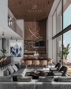 Home Room Design, Dream Home Design, Modern House Design, Interior Design Living Room, Living Room Designs, Living Room Decor, Home Living Room, High Ceiling Living Room Modern, Modern Home Interior