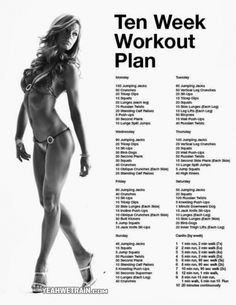 10 Week Workout Plan for Women - Sixpack Butt Legs Exercises Abs - Yeah We Train ! Fit, 10 Weeks, Work Outs, Home Workout, 10 Week Workout, Week Workout Plans, Ten Weeks, Health, Weeks Workout Plans