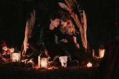 Night session, Halloween inspiration, black candles, black flowers, black pampas, pampas arcade, ram skull, black dress, lit lanterns, gothic mood, emotional elopement Ram Skull, Night Shot, Black Candles, Black Flowers, Light Painting, Arcade, Lanterns, Gothic, Mood