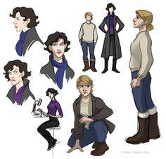 Genderbent Sherlock Holmes & John Watson by Fornax
