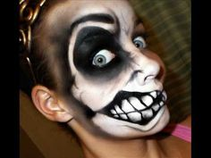 Copy of Halloween Series 2011 (request): Crazy Face Tutorial Crazy Halloween Makeup, Crazy Makeup, Halloween Make Up, Halloween Ideas, Halloween Party, Halloween Costumes, Halloween Clown, Halloween Images, Adult Face Painting