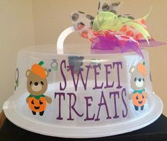 Personalized Cake Carrier - Halloween Pumpkin Bear Cake Carrier - TDY Designs