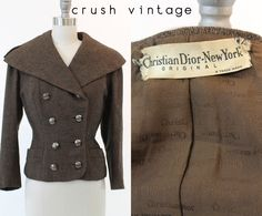 50s Rare Christian Dior Jacket Small  / 1950s Dior Tweed Wool Jacket / The New Look Dior Jacket by CrushVintage on Etsy https://www.etsy.com/listing/170196533/50s-rare-christian-dior-jacket-small