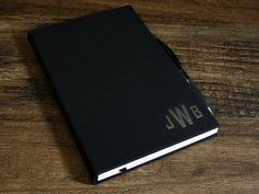 Monogrammed Journal with Lined Pages, Engraved Leather Journal, Personalized Notebook, Customized Leather Gift, Custom Leatherette Journal Personalized Journals, Ribbon Bookmarks, Leather Gifts, Lined Page, Leather Journal, All The Colors, Black Silver, Initials, Monogram