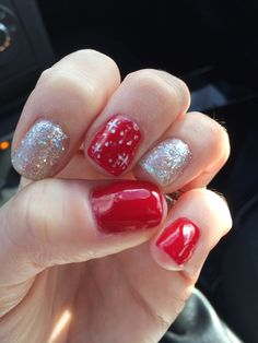 Christmas nails. Red. Glitter. Silver. White. Design nails. Gel polish. Shellac. Manicure. Feminine. Fun. Glitzy. Sparkles.