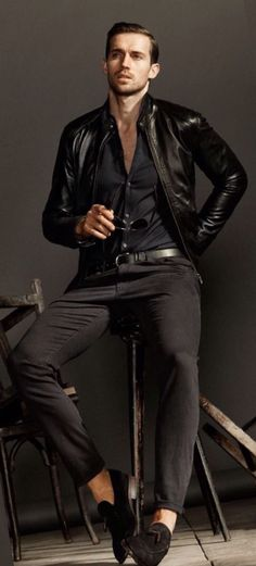 Black Leather Modern Moto Jacket, by Massimo Dutti, Urban Street Style, Mens Fall Winter Fashion.