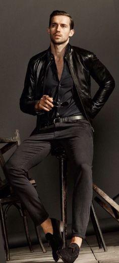 Black Leather Modern Moto Jacket, by Massimo Dutti, Urban Street Style, Mens Fall Winter Fashion.