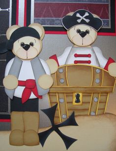 Pirates Premade Paper Piecing Embellishment Bears BTDL by tycaalak