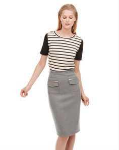 leather sleeve striped top and gray pencil skirt