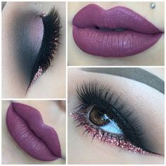 Pinterest : @Lovelyy_Amber97 ❤️ Dark Lips pink glitter eyeshadow