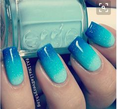 45 Inspirational Blue Nail Art Designs and Ideas - Latest Fashion Trends - Nails, Nails, and Nails - Blue Stiletto Nails, Blue Ombre Nails, Ocean Blue Nails, Ocean Nail Art, Gradient Nails, Ombre Nail Art, Acrylic Nails, Ombre Paint, Nail Polish