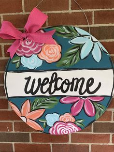 Personalized Colorful Floral Welcome Door Hanger Teacher Door Hangers, Teacher Doors, Teacher Door Signs, Arte Country, Pintura Country, Front Door Signs, Front Door Decor, Porch Signs, Door Hanger Template