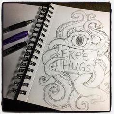 #drawloween2016 Day Four. Theme: Tentacle Tuesday. Didn't get to inking yet. . . . #earthenwood #drawlloween #creepycute #sketchbook #drawing #sketch #spoopy #artist #deadthings #horrornerd #spooky #sketching #draw #ink #horror #horrorart #creepy #tentacles #hugs #hugmonster #pencil