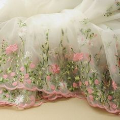 Bubble skirt fabric, Organza Lace Fabric, Embroidered Lace Fabric, Organza Pink Flower Borders Fabric DIY Dress fabric - yard Lace * Floral embroidered lace fabric: Polyester fiber * Width 51 inch listed for cm you need one yard, I will ship 90 *