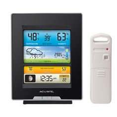 The #AcuRite Color Weather Station 02048HD | uses patented Self-Calibrating Technology to provide your personal forecast of 12 to 24 hour weather conditions. The full color LCD screen includes indoor & outdoor temp & humidity, moon phase, pressure, heat index, dew point, time & date. Humidity Level Indicator easily conveys the humidity level in your indoor environment. Intelli-Time clock automatically updates itself for Daylight Saving Time. Get it on HomeDepot.com: http://thd.co/1yFBb0t