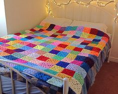 Multicolour crochet blanket