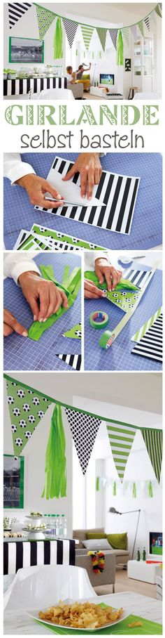 Buchstaben-Girlande With a garland, the party is much more festive. Soccer Birthday Parties, Birthday Party Themes, Party Mottos, Paper Succulents, Party World, Washi Tape Diy, Diy Garland, Dinosaur Party, Diy Crafts Videos