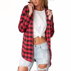 Pair this classic flannel blouse with a vintage tee, sexy shorts and rockstar boots for an Instagram-worthy #OOTD! The versatile top can also be worn with jeans and sneaks for a laid-back, weekend out