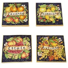 CERAMICHE D'ARTE PARRINI - Italian Ceramic Art Set Tiles Pantiles Pottery Decorate Fruit 4 Seasons Hand Painted Made in ITALY Tuscan