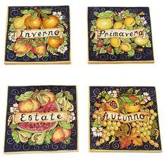 CERAMICHE D'ARTE PARRINI - Italian Ceramic Art Set Tiles Pantiles Pottery Decorate Fruit 4 Seasons Hand Painted Made in ITALY Tuscan