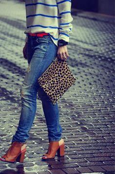 Happily Grey | Chunky Heels + Leopard Clutch