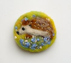 Needle felted brooch, Little Hedgehog ' pin, Felt Brooch, Wool, Fall, Autumn, Meadow